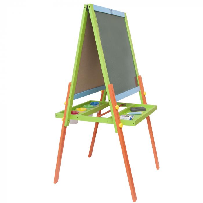 Tabla educativa reglabila din lemn, 3 in 1 sevalet, 130x57 cm [5]