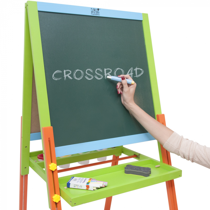 Tabla educativa reglabila din lemn, 3 in 1 sevalet, 130x57 cm [4]