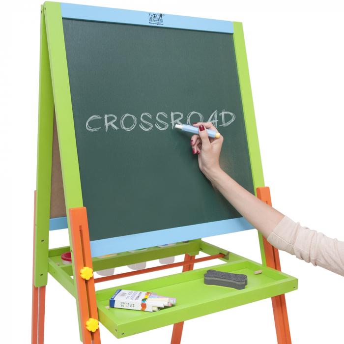 Tabla educativa reglabila din lemn, 3 in 1 sevalet, 115x56 cm [3]
