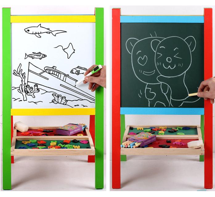 Tabla educativa din lemn 3 in 1 sevalet, 65x36 cm [4]