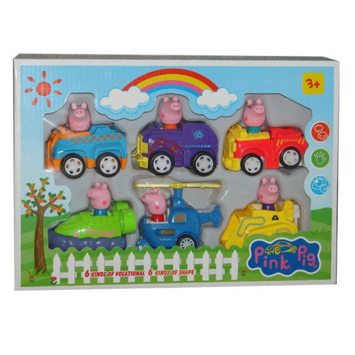 Set de joaca 6 figurine Peppa Pig in masinute [0]