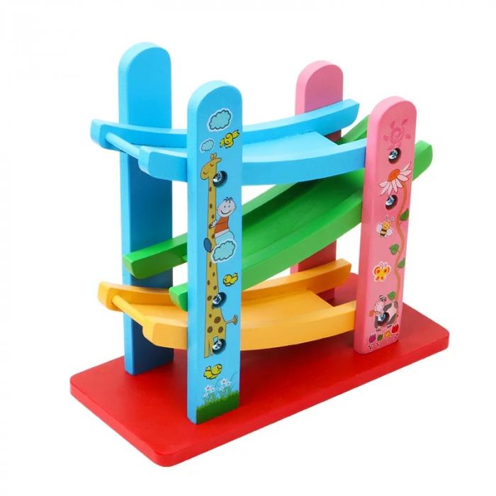 Jucarie lemn Pista de Raliu cu 3 etaje si masinute Mini [2]
