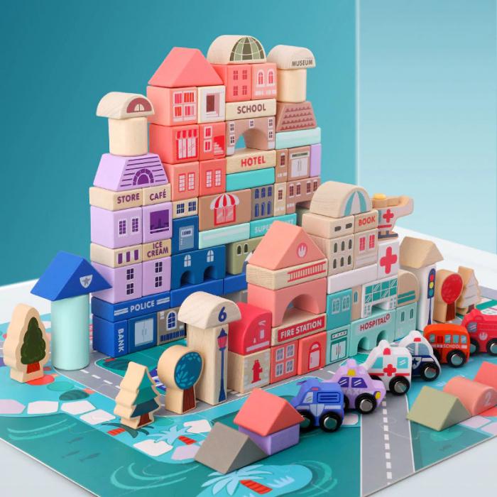 Set cuburi lemn Oraselul City Blocks, 115 piese [3]