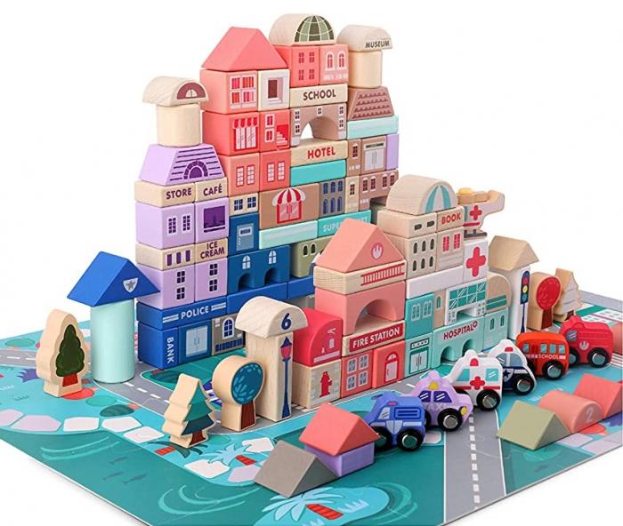 Set cuburi lemn Oraselul City Blocks, 115 piese [1]