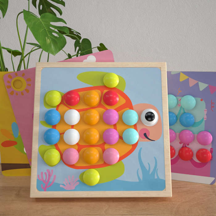 Joc mozaic lemn Wisdom Cool, 10 planse, 50 de butoni, galben [1]