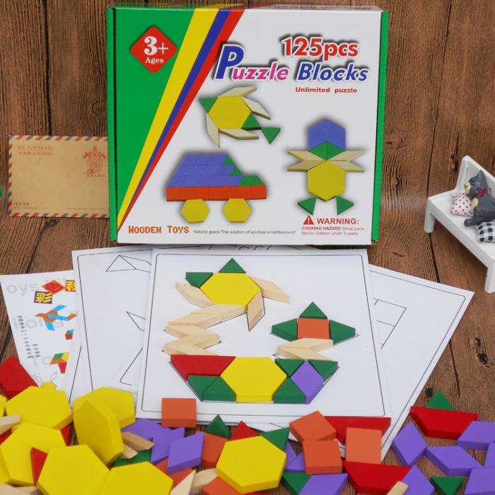 Joc educativ Tangram 125 piese din lemn, multicolor [1]