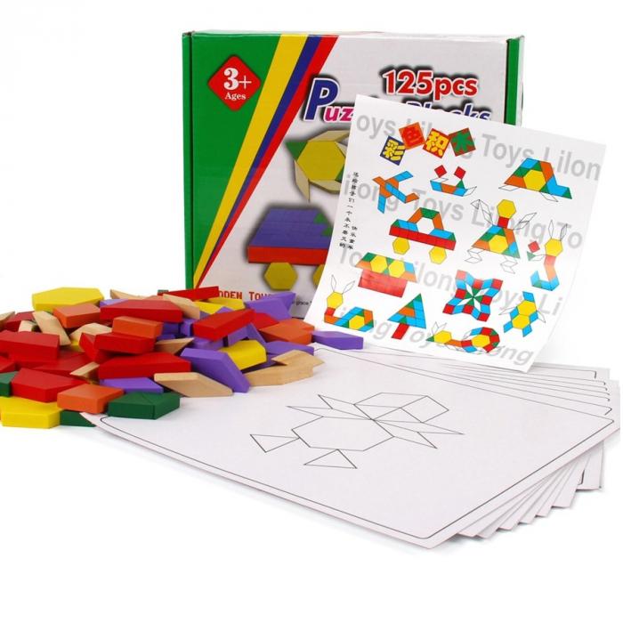 Joc educativ Tangram 125 piese din lemn, multicolor [2]