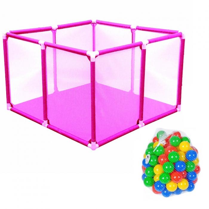 Tarc de joaca pentru bebelusi, 50 bile, 100x100x65 cm, roz [0]