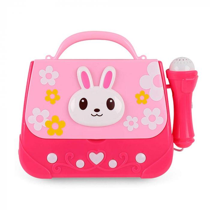 Microfon de jucarie portabil cu gentuta Boombox, roz [3]
