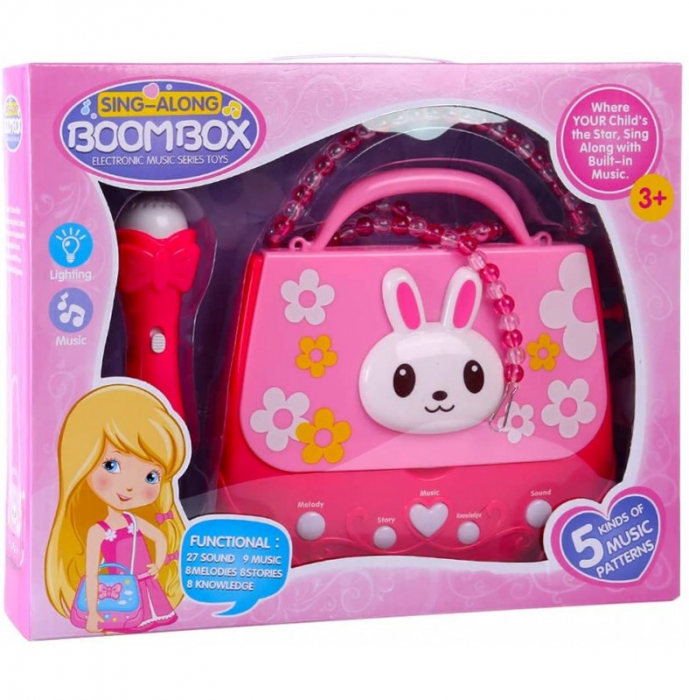 Microfon de jucarie portabil cu gentuta Boombox, roz [1]