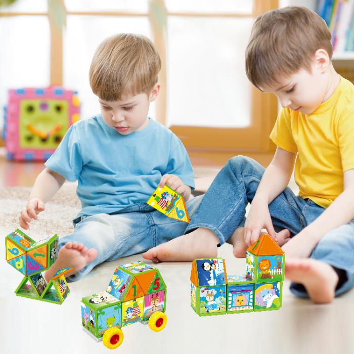 Joc constructiI magnetice si puzzle Magnetic Cubes, 40 piese, multicolor [5]