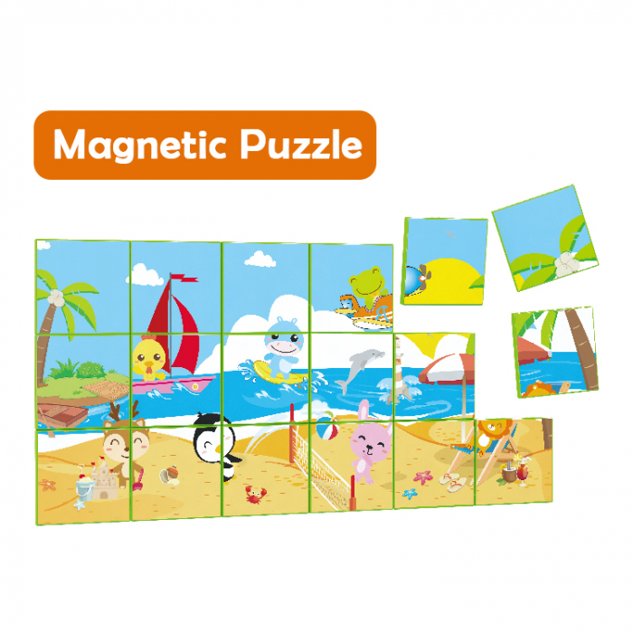 Joc constructiI magnetice si puzzle Magnetic Cubes, 40 piese, multicolor [4]
