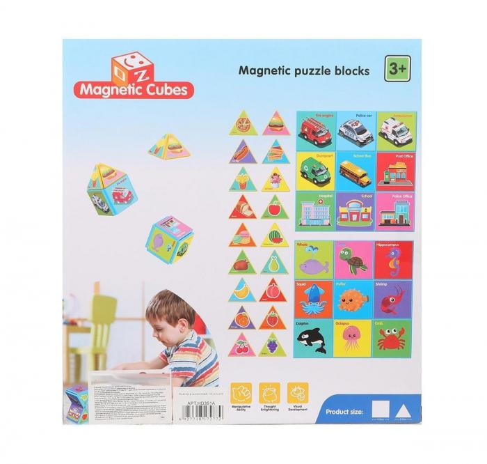 Joc constructiI magnetice si puzzle Magnetic Cubes, 18 piese, multicolor [2]