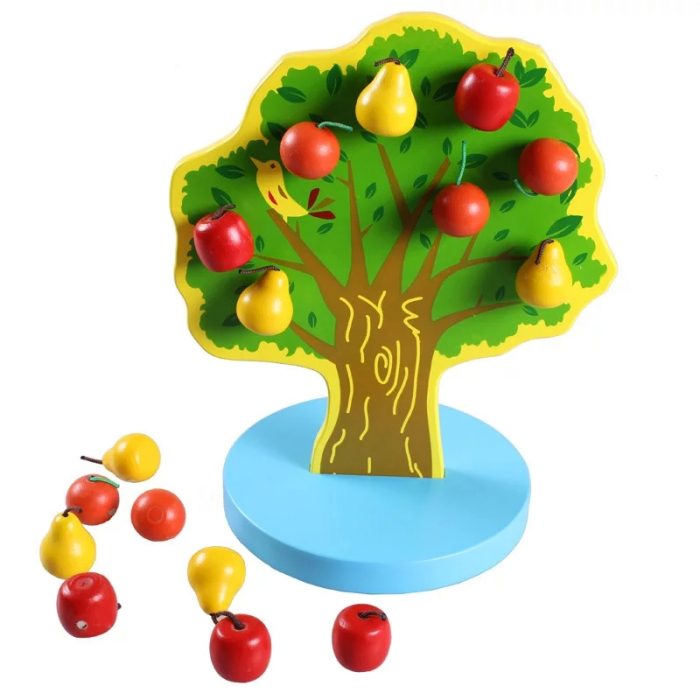 Joc Montessori de indemanare Copacul cu fructe magnetice, multicolor [4]