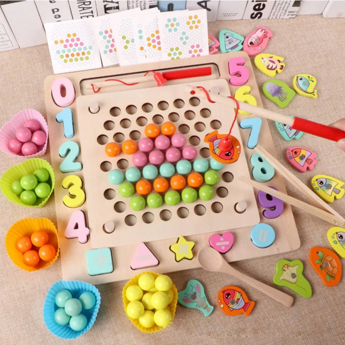 Joc Montessori de indemanare Fishing Beads 4 in 1, multicolor [0]