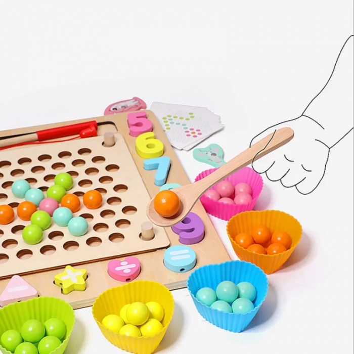 Joc Montessori de indemanare Fishing Beads 4 in 1, multicolor [3]
