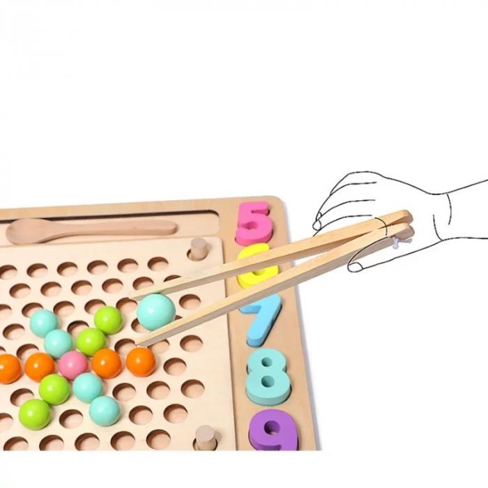 Joc Montessori de indemanare Fishing Beads 4 in 1, multicolor [1]