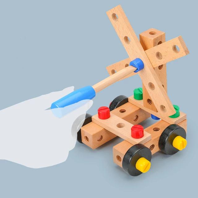 Scaun Montessori din lemn cu diferite modele de asamblare, multicolor [5]