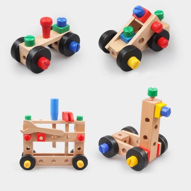 Scaun Montessori din lemn cu diferite modele de asamblare, multicolor [4]