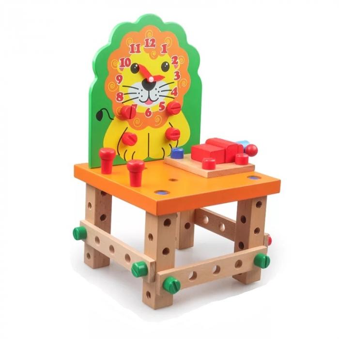 Scaun Montessori din lemn cu diferite modele de asamblare, multicolor [1]