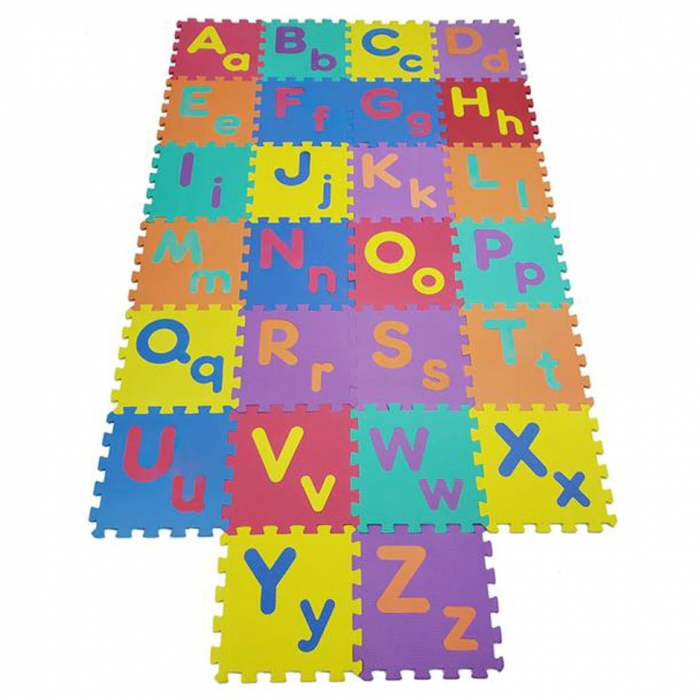 Covoras de joaca puzzle termic si educativ Alfabet, 26 piese, 30x30 cm, multicolor [3]