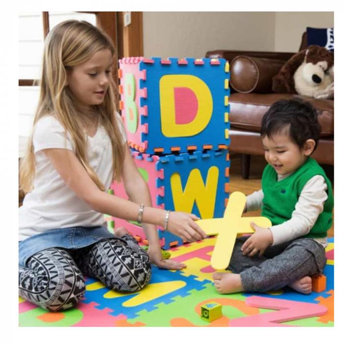 Covoras de joaca Puzzle termic si educativ Alfabet, 26 piese, 28.5x28.5 cm, multicolor [1]