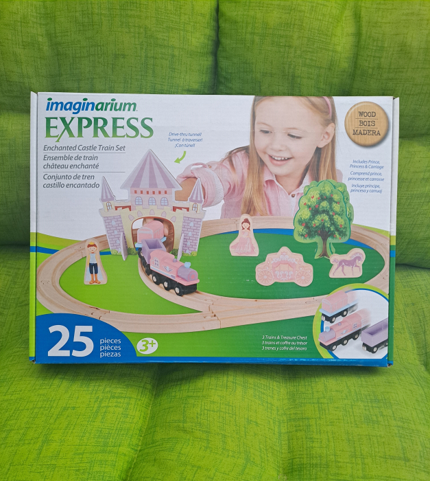Circuit din lemn Castle Train, 25 piese, multicolor [2]