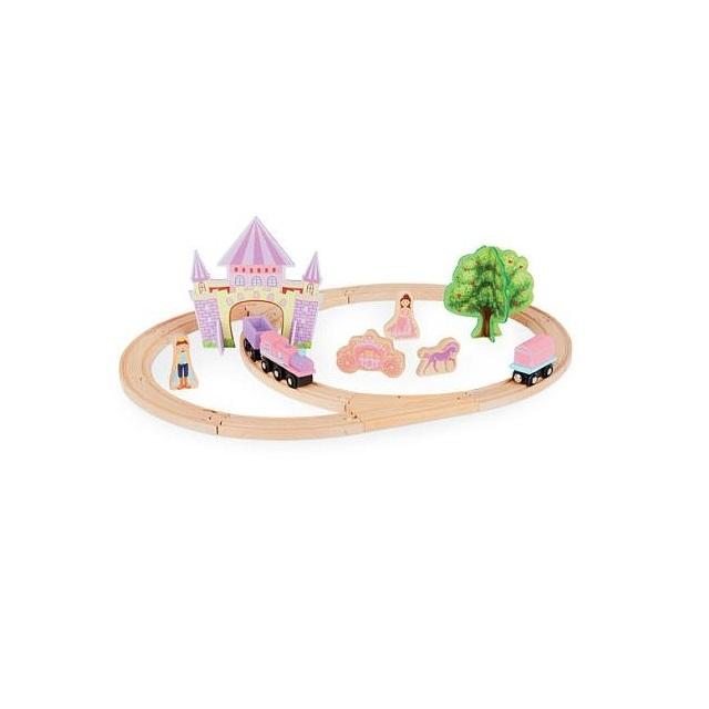 Circuit din lemn Castle Train, 25 piese, multicolor [3]
