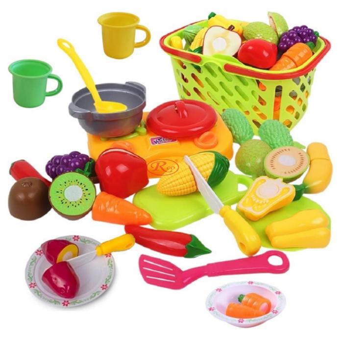 Set jucarii pentru copii cos cu fructe si legume de taiat, Super Market, 20 piese [1]