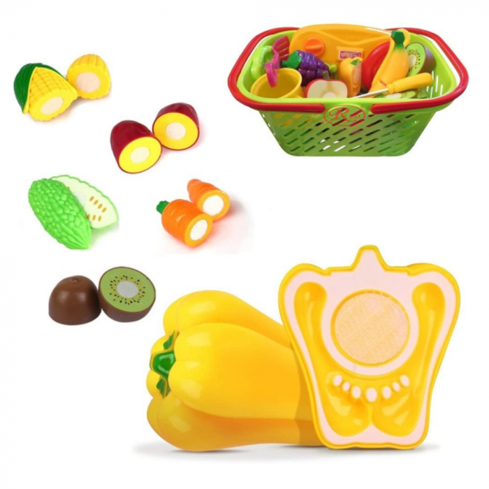 Set jucarii pentru copii cos cu fructe si legume de taiat, Super Market, 20 piese [3]
