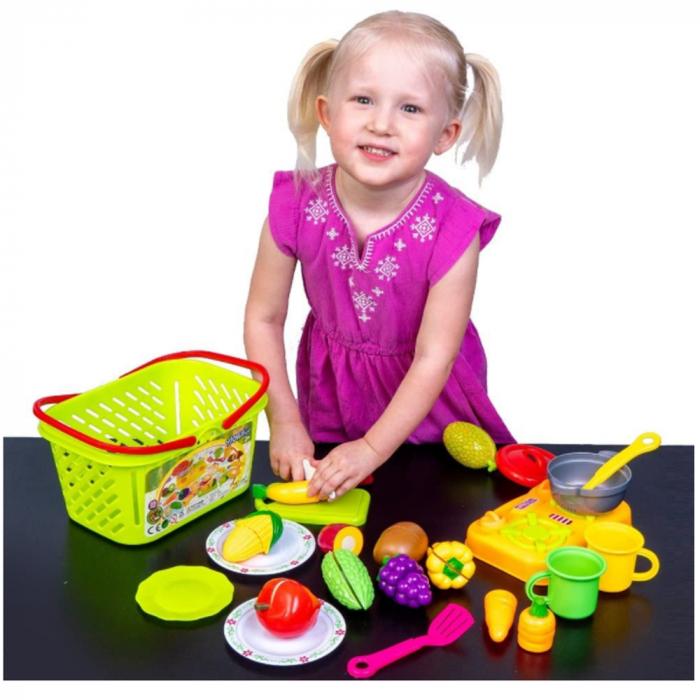 Set jucarii pentru copii cos cu fructe si legume de taiat, Super Market, 20 piese [0]