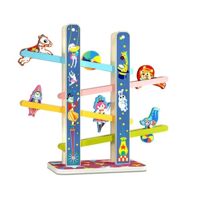 Casada Acrobatilor Jucarie din lemn, Pista cu etaje, multicolor [4]