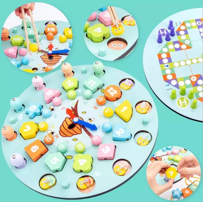 Ceas multifuncional din lemn cu doua fete, games, chess, fishing beads, multicolor [2]