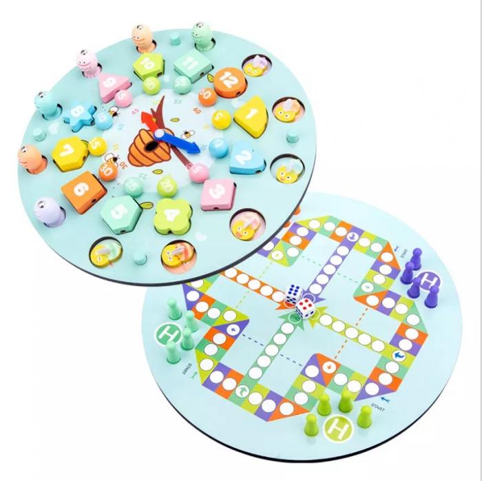 Ceas multifuncional din lemn cu doua fete, games, chess, fishing beads, multicolor [4]