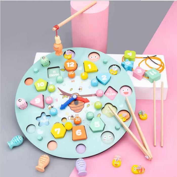 Ceas multifuncional din lemn cu doua fete, games, chess, fishing beads, multicolor [1]