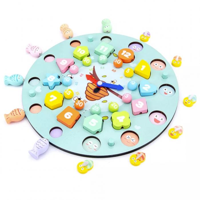 Ceas multifuncional din lemn cu doua fete, games, chess, fishing beads, multicolor [0]