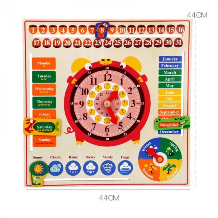 Jucarie educativa din lemn Montessori ,calendar, ceas, anotimpuri, lunile anului, Multicolor [1]
