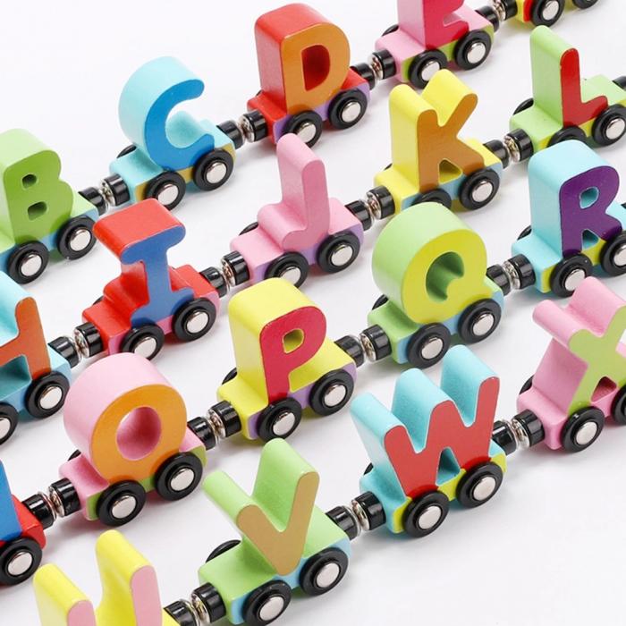 Trenulet din lemn cu vagoane magnetice, literele alfabetului, multicolor [1]