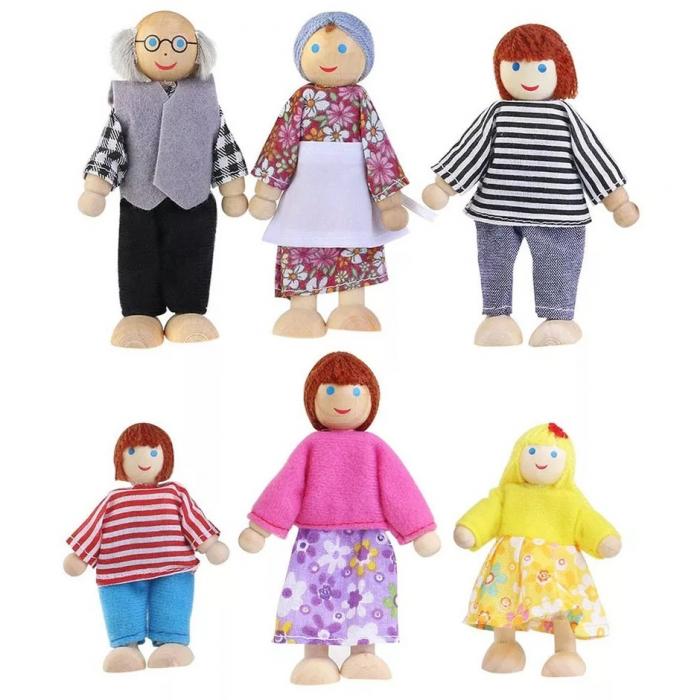 Set 6 papusi din lemn, Familia Puppet, multicolor [5]