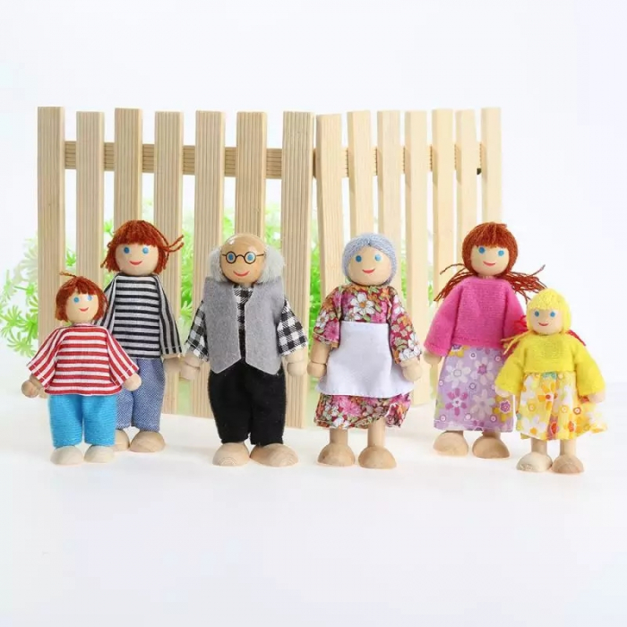 Set 6 papusi din lemn, Familia Puppet, multicolor [3]