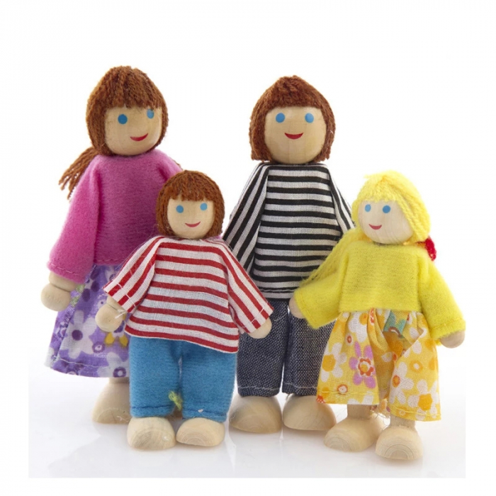 Set 6 papusi din lemn, Familia Puppet, multicolor [2]