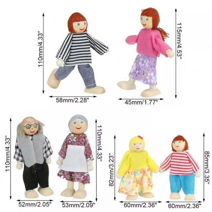 Set 6 papusi din lemn, Familia Puppet, multicolor [1]