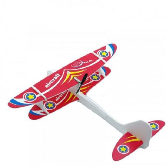Avion planor din polistiren, cu lumina LED si elice. Incarcare USB [0]