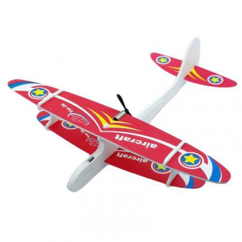Avion planor din polistiren, cu lumina LED si elice. Incarcare USB [1]
