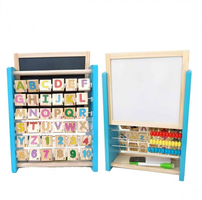 Alfabetar din Lemn cu numaratoare si tabla magnetica, multicolor [1]