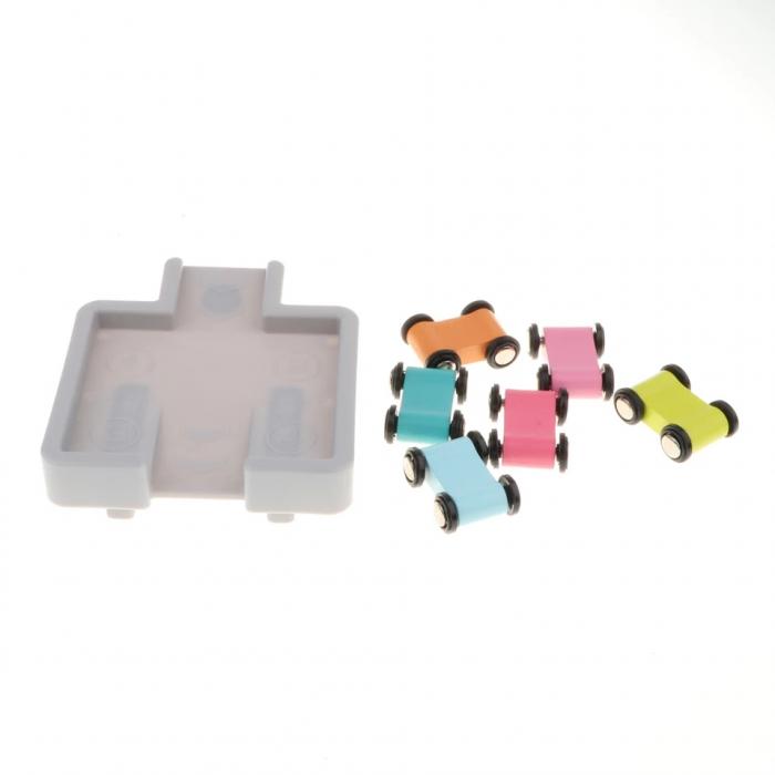 Circuit din lemn cu 4 piste si masinute, multicolor [4]