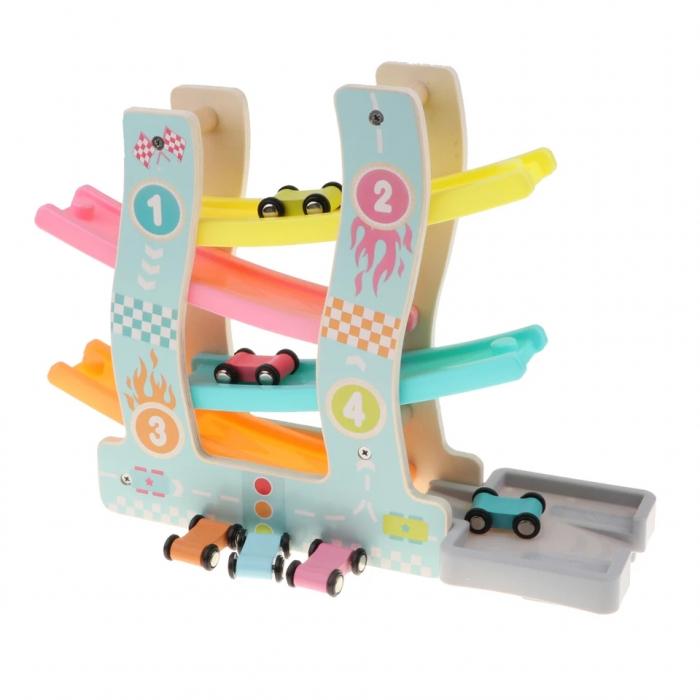 Circuit din lemn cu 4 piste si masinute, multicolor [2]