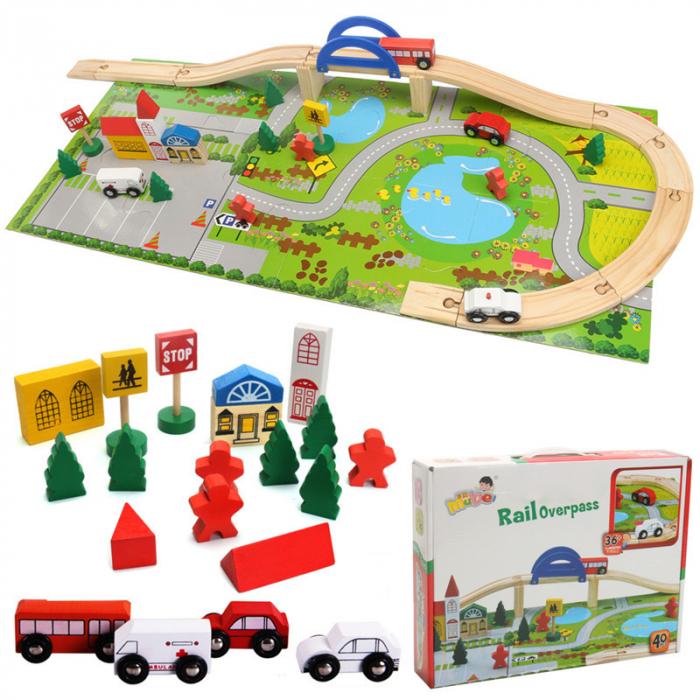 Circuit din lemn Rail Overpass cu masinute si covoras puzzle, Toyska [3]
