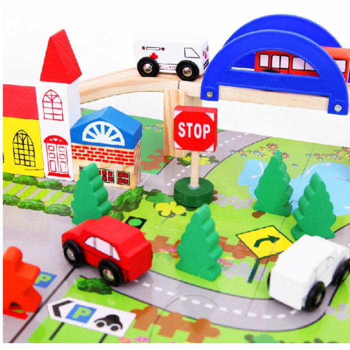 Circuit din lemn Rail Overpass cu masinute si covoras puzzle, Toyska [4]
