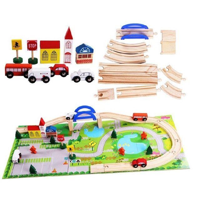 Circuit din lemn Rail Overpass cu masinute si covoras puzzle, Toyska [2]